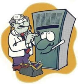 cartoon of doctor fixing furnace
